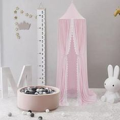 Pink Canopy Curtain with Lace Girl Nursery, Girl Room, Nursery Decor, Canopy Curtains, Hanging Curtains, Trendy Bedroom, Kids Bedroom, Reading Tent, Princess Canopy Bed