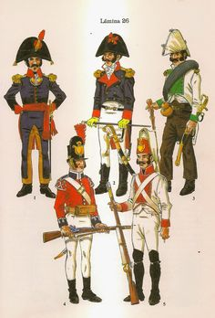 Spanish; Infantry. From Top left Clockwise- Officer, Officer Regt.Aragon, Lieutenant in Campaign Uniform Regt.Burgos, Fusilier Regt. Extremadura 1808 & Fusilier in British supplied uniform.