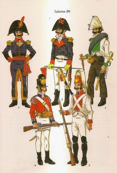 Spanish; Infantry. From Top left Clockwise- Officer, Officer Regt.Aragon, Lieutenant in Campaign Uniform Regt.Burgos, Fusilier Regt. Extremadura 1808 & Fusilier in British supplied uniform.
