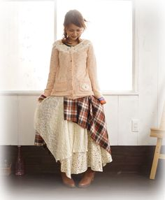 Pretty pink sweater and patchwork skirt mori girl
