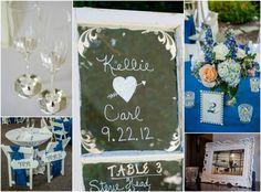 Nashville Garden Wedding Venue CJ's Off the Square Blue and White Details