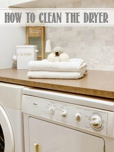 Learn how to clean your dryer for faster drying time, decreased energy use and to help prevent dryer fires. #cleaningtips #laundry #laundryroom #cleaninghacks