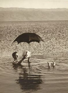 Old Picture of the Day: Dead Sea - Floating and Reading