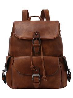 Buckled Flap Drawstring Backpack - Brown -SheIn(abaday)