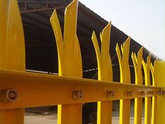 Yellow coated PVC palisade fence for factory, with W section pale and triple… Palisade Fence, Magnetic Knife Strip, Steel, Fencing, Park, Building, China, Yellow, Products