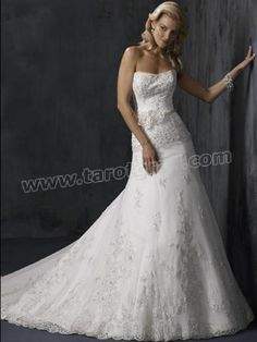 A-Line Silhouette With Handmade Flowers Decoration And Lace-Up Wedding Dress