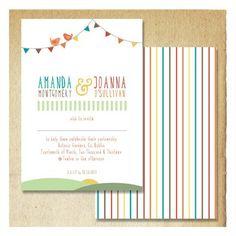 Summer Bunting Wedding Invitation from DoodleMoose Designs