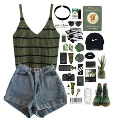 """//PERSEPHONE//"" by effleurence ❤ liked on Polyvore featuring American Apparel, Dr. Martens, Nike Golf, Nikon, Aesop, Kiehl's, WALL, Lime Crime, AMBRE and Olivina"