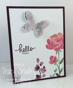 Painted Blooms Designer Series Paper from the 2015 Stampin' Up! Occasions catalog.  Hello card by Tracy Bradley   www.stampingwithtracy.com