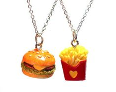Best Friends Necklaces - BFF Cheeseburger and French Fries Charm Pendant best friend jewelry - Kawaii cute miniature food hamburger