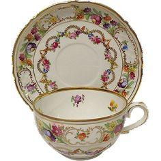Vintage Schumann Arzberg Germany Tea Cup and Saucer Set Dresden Flower Garland