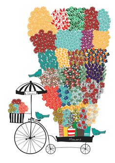 Flower Vendor Flower Shop Bicycle Colorful Art Print Flower Pattern BIrd Animal Illustration Wedding Gift by dekanimal, $15.00