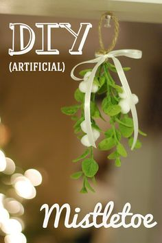 DIY Artificial Mistletoe. Visit our blog at madewithloveandoats.blogspot.com!