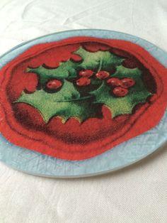Christmas Trivet Holly Hot Plate Vintage Trivet by CasaDeVero