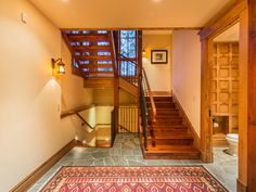 Staircase for the four levels of the ski home.