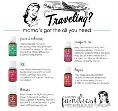 Essential oils for traveling! Young Living essential oils. Essential Families by hattie