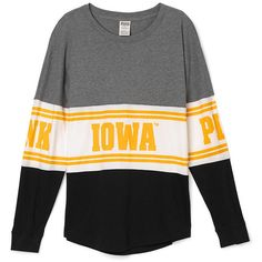PINK University of Iowa Varsity Crew ($65) ❤ liked on Polyvore featuring tops, t-shirts, print, graphic tees, graphic print t shirts, slouchy tee, pink tee and crew tee