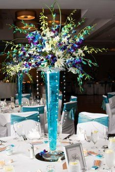 Wedding, Flowers, Centerpiece, Blue
