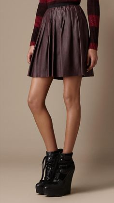 Burberry Brit Pleated Leather Skirt  I would so wear this if it was a little longer.