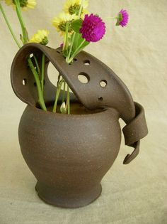 Ceramic Wild Flower Vase in Sun Yellow and black Mountain: