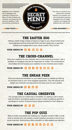 Secret Menu for More Engagement and More Traffic #Infographic - Socially Creative and Delivered | ExactTarget Email Marketing