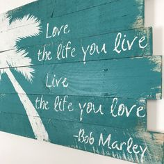 "Beach Decor Bob Marley Palm Tree and Love the Life Teal 32"" x 21"" by WoodburyCreek on Etsy"