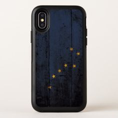 Alaska State Flag on Old Wood Grain OtterBox Symmetry iPhone X Case - wood gifts ideas diy cyo natural