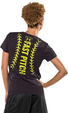 Women's Under Armour Fast Pitch Stitch Short Sleeve T-Shirt Softball Quotes, Softball Shirts, Girls Softball, Baseball Mom, T Shirts, Softball Stuff, Softball Cheers, Softball Crafts, Volleyball