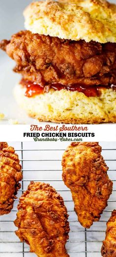 These are the Ultimate Southern Fried Chicken Biscuits!  Flavorful, crispy, fried chicken breasts are sandwiched between buttery, flaky Southern biscuits with a hint of spiced red pepper jelly. #biscuit #bread #friedchicken #chicken #chickenbiscuit #chickensandwich #chickenbreast