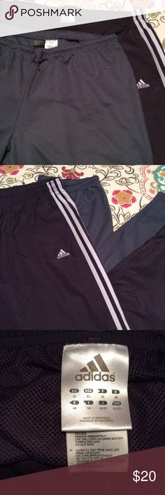 """Activewear pants bundle Two pair of activewear pants. Nike Dri-Fit- gray with drawstring waist, 31"""" inseam. Adidas - drawstring waist with two white side stripes, 31"""" inseam and 8"""" zip at ankle. Nike and Adidas Pants Track Pants & Joggers"""
