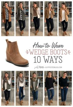 How to Wear Tan Wedge Booties – Just Posted Wedge Booties Outfit, Sneaker Wedge Outfit, Tan Wedges Outfit, Brown Ankle Boots Outfit, Ankle Boots With Jeans, Sorel Wedge Boots, Winter Boots Outfits, Fall Outfits, Quoi Porter