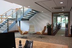 I like the staircase within this office/reception area