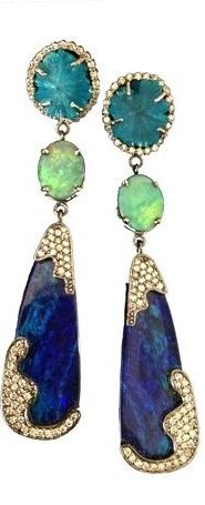 Earrings in 18k gold with diamonds, opals, and cavansite.