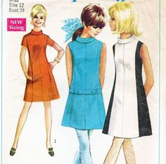 Vintage 1960s MOD A-Line COLOR BLOCK DRESS w/ BELT Pattern - 34 BUST - Simplicity 7587