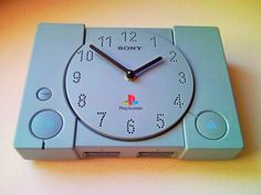 It looks better as a wall clock than a video game! :)  Upcycled wall and desk, table clock from the well known retro Sony PlayStation 1 ( PS1, PS,