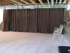 Covering walls with curtains and curtain wires Unfinished