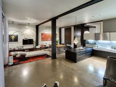 Contemporary loft apartment. Great use of space.