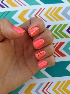 Neon nails for the first day of school