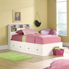 Sauder Shoal Creek Twin Mates Bed with Headboard, Soft White: Furniture : Walmart.com