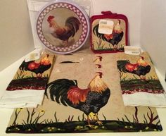 rooster kitchen decor cabinets mn 186 best images in 2019 hens nice set cock mat potholder burner cover towel placemats ebay