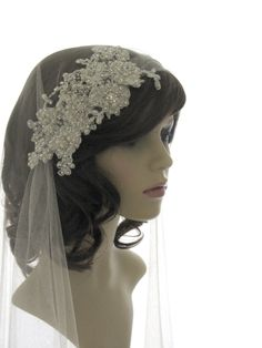 Couture bridal cap veil -1920s wedding  veil - Dentelle Pearl Luxe by SarahMorganBridal on Etsy https://www.etsy.com/listing/125733596/couture-bridal-cap-veil-1920s-wedding