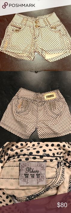 Rhero shorts made in brasil Similar to the pitbull Brand, are very expensive and retail for 120 just for the shorts ! But they're worth it ! These come with removable butt pads that give you an automatic booty ( the Brazilian butt lift secret ;) ) these are beige with black polka dots , beautiful rhinestones and gems along shorts as pictured . Size 38 in brasil which is a size 4 in US Shorts Jean Shorts