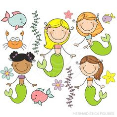 Mermaid Stick Figures Cute Digital Clipart, Mermaid Graphics