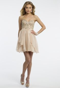 Camille La Vie Strapless Chiffon Prom Dress with Beading