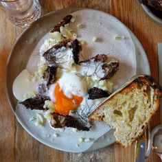 Grilled Morel Mushrooms with Hen's Egg... and that 🍞👌 at Burdock