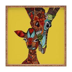 Amazon.com: DENY Designs Sharon Turner Giraffe Love Ochre Indoor/Outdoor Square…