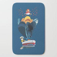 Ponyo Bath Mat by Laura Frere - x Hanging Dryer, Studio Ghibli, Graphic Design, Design Art, Film Poster, Movie Posters, Memory Foam, Fish Vector, Cushions