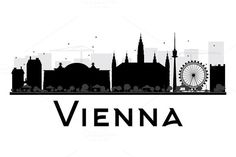 Vienna City skyline black and white silhouette. Simple flat concept for tourism presentation, banner, placard or web site. Harry Potter Poster, Black And White City, Skyline Silhouette, Austria Travel, City Illustration, Wall Ideas, Business Travel, Travel Posters, Vienna