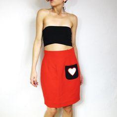 Love Red Pencil Skirt M/L