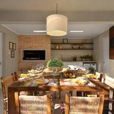Área de Lazer na cidade: Sala de jantar translation missing: br.style.sala-de-jantar.rústico por Stefani Arquitetura